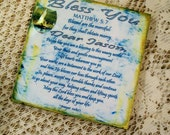 Coaster Men's Coaster Blue Decoupaged Bless You Personalized Name Coaster
