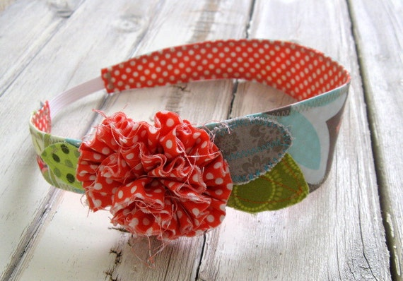 Fabric Headband - Orange White Polka Dot and Light Aqua Gray Fabric Headband with Elastic Back - Tween to Adult - Fabric Flower and Leaves