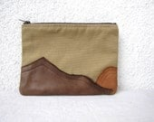 Leather Mountains - OOAK appliquéd Clutch purse, cosmetic bag,  zipper pouch, canvas - HelloVioleta