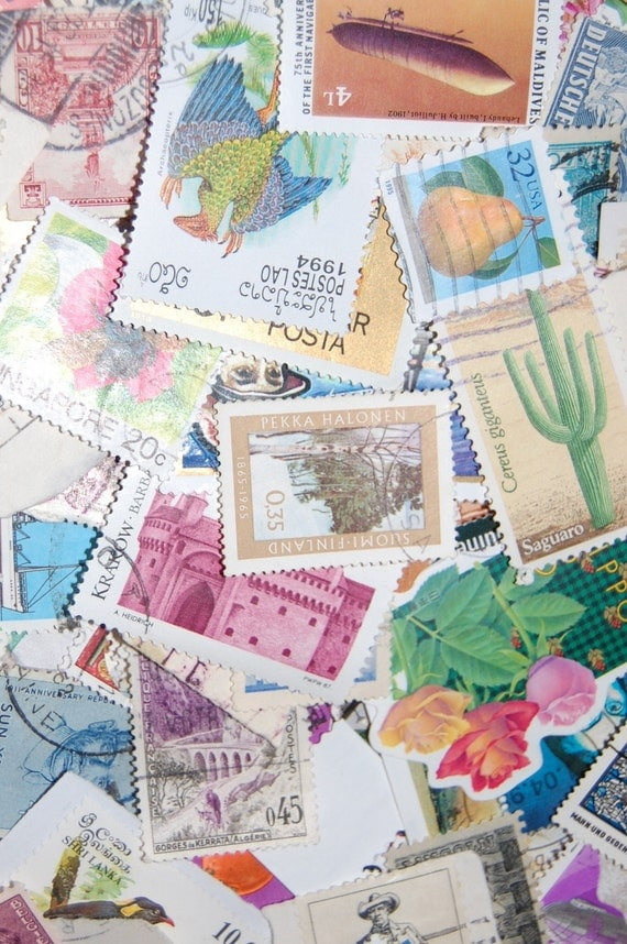 Lot of 100 Vintage US and World Wide Postage Stamps - DESTASH Great for scrapbooking, mixed media and other diy projects