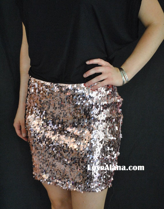 Light Pink Sequin Skirt - Sexy Stretchy Sequin Party Cocktail Skirt, mini and plus by LOVEALANA.COM