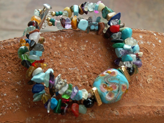Glass & Stone Chip Bracelet