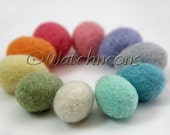 10 Little Needle Felted Wool Eggs - Solid Soft Colors - Watchncons