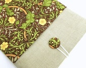 iPad Cover Case, iPad Padded Sleeve - Floral fabric in brown, yellow, peach and green  - Linen - GaranceCouture