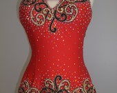Red Latin Dress with Gold lace Red Tango Dress Dress for Tango dance Latin Dance Dresses - DesignByNatasha