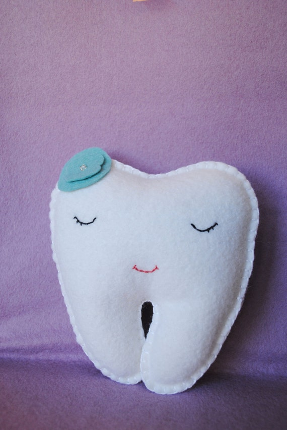 Tooth Fairy Pillow shaped like a tooth--white, teal, blue, green -girl