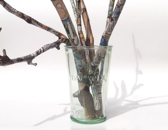 Repurposed branches, paper decoupaged sticks, wood home decor, geeky upcycled wood, funky