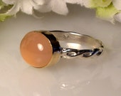 Pink Chalcedony Ring 11 x 9mm -  14K Gold and Sterling Silver