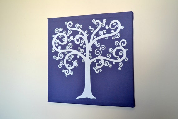Tree, Purple and White, Stretched Print, Custom, Whimsy, Whimsical