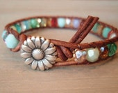 "Colorful leather wrap bracelet, ""RainBow"", Shabby chic, turquoise, red, brown leather, silver daisy flower, multi colored boho chic - slashKnots"