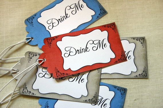 Alice in Wonderland 'Drink Me' Tags - Girls Birthday Party - DIY PRINTABLE FILE by Sassaby