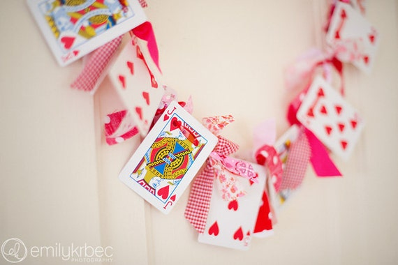 Valentine's Day Garland Playing Card and Knotted Fabric Garland