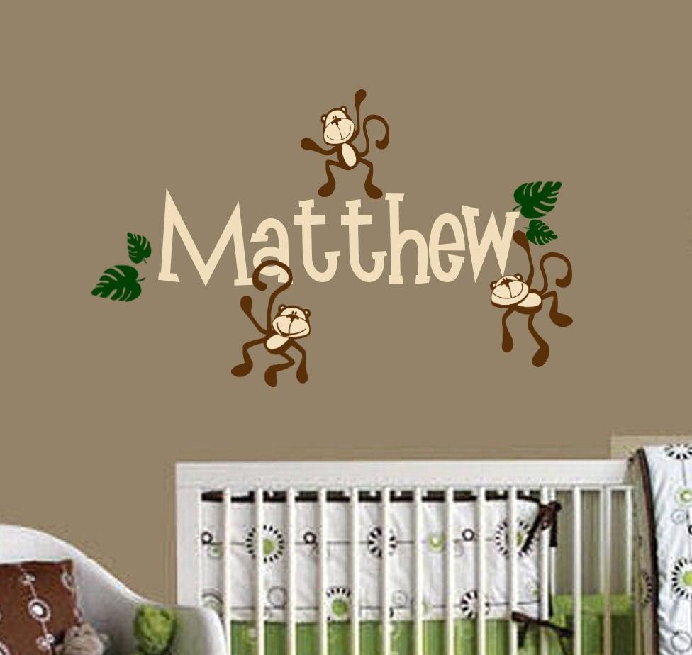 Nursery Wall Decor Name : Monkey nursery decor photograph monkeys hanging with name