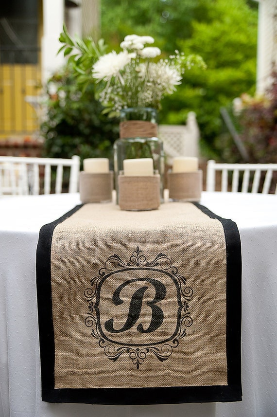 Custom Monogrammed Burlap Runners by  a southern bucket... Stunning and perfect for rustic elegant wedding or home decor.