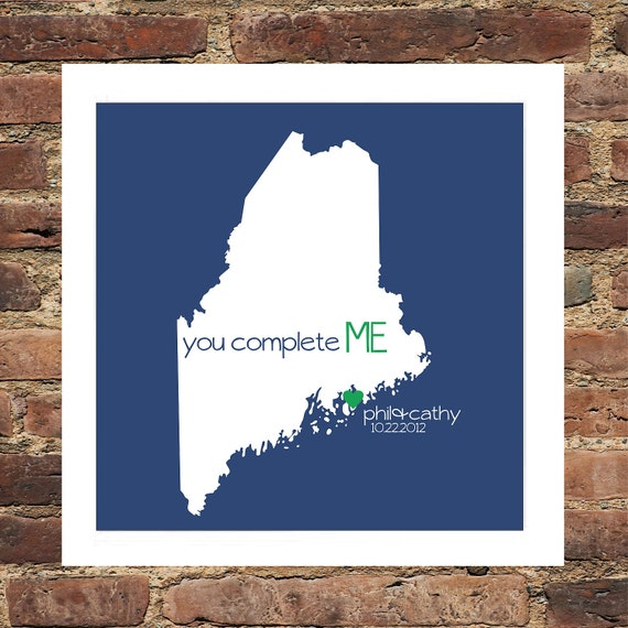 MAINE  Art State Print Custom Wedding Gift  State of Love FRAMED - Conversation Heart Art- Great Engagement or Wedding Gift