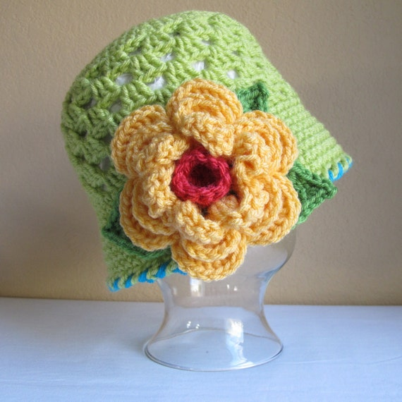 CROCHET PATTERN - In Full Bloom - a cloche hat with flower in 8 sizes (Infant - Adult L)