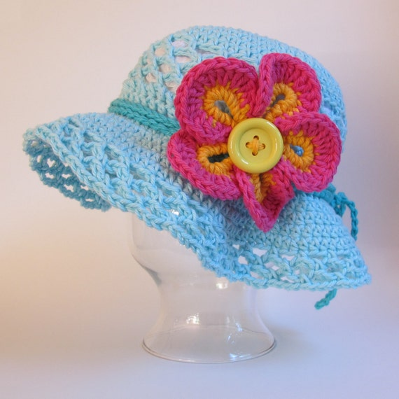CROCHET PATTERN - Island Girl - a sun hat with flower in 5 sizes (Infant, Baby, Toddler, and Child/Youth sizes)