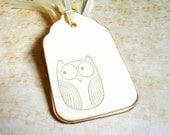 8 Owl Gift Tags, Cream, Party Favor Tags - CatchSomeRaes