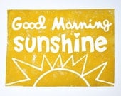 GOOD MORNING SUNSHINE - mustard yellow - original block print - 8x10 - PickledPineapple