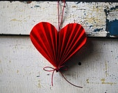Valentine Heart, Paper Anniversary Wedding Gift,  Red Paper Ornament - PaperAltar