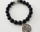 Blue Sandstone Ying and Yang Bracelet