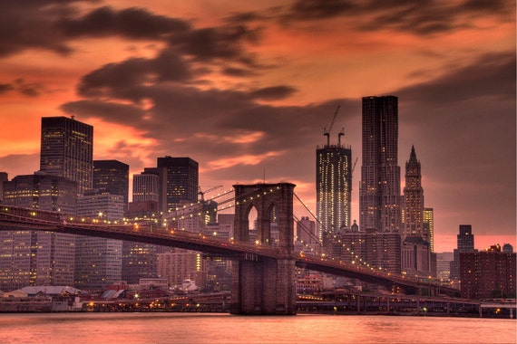 New York City, Photography, Brooklyn Bridge at Sunset, Photograph Print, Art, Home Decor,  6X9 (Other Sizes Available)