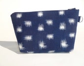 Indigo Blue Kasuri Ikat Zipper Bag - asianinfluence