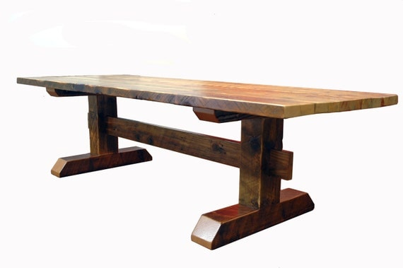 Reclaimed Timber-Frame Trestle Table, Farm Table