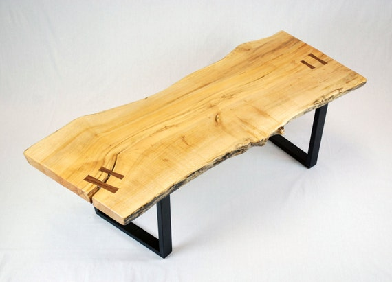 Reclaimed Maple Slab Coffee Table with Black Walnut Butterflys -- FREE SHIPPING