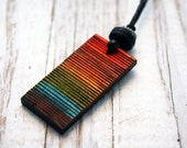 Wood Burned Necklace - Natural, Rainbow Colored, LGBT, Adjustable Necklace - VRDjewelry