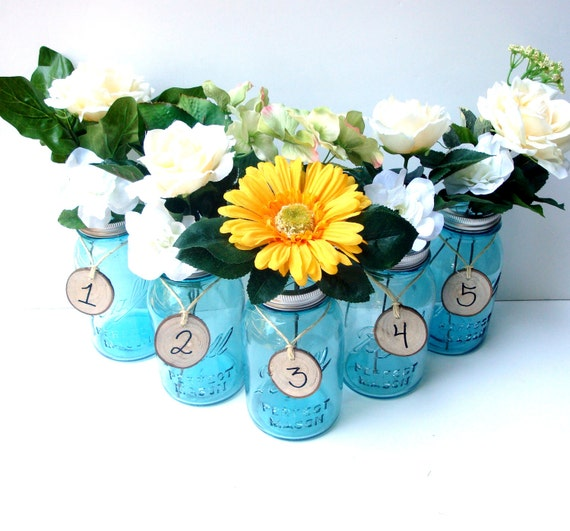 Antique Blue Mason Jar Vase Centerpieces Table Numbers With Flower Frog Lids - Set of 5