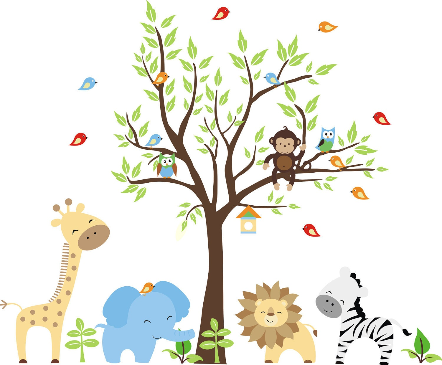 Monkeys everywhere wall decals jungle tree with monekys wall brewster childrens jungle wall decals jungle home decor nursery wall decals jungle amipublicfo Image collections