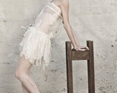 White Lace and Feathers Beaded Slip Dress- For laurenchangmaclean - Sophiehines