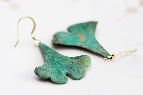 Vacation - Green Ginkgo Leaf Earrings Verdigris Patina Ginkgo Earrings - E077