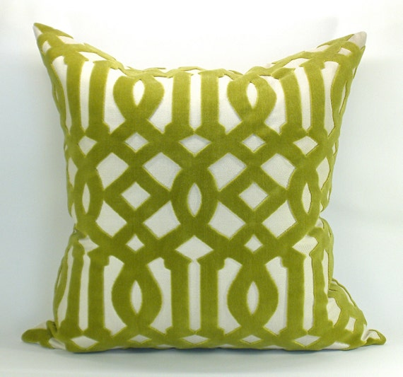 Schumacher Imperial Trellis Velvet pillow cover in Chartreuse - 17 x 17