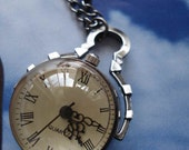 20% HOLIDAY SALE Silver color ball necklace pocket watch pendant E193
