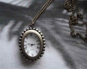 20% HOLIDAY SALE Antique Pocket Watch Necklace Bronze Pendant With Chain E143