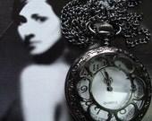 20% HOLIDAY SALE Black Necklace Pendant Sun Flower bronze Pocket Watch quartz Gift Chain E214