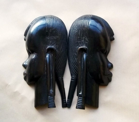 African Masks Wall Mask Vintage Ebony Wall Hanging