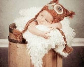 Newborn Owl Photography prop earflap hat in Autumn colors with tassles (sizes nb, 1-3mos, 3-6mos, 6-12mos) - AllBabyBoutique