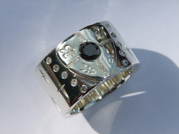 Mens Chunky Diamond Ring 1.50ct Black Diamond White Gold Band Shield and Cross Design