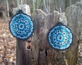Huichol Lace Mandala Beaded Earrings, Teal, Blue, Light Blue, Quiet Storm, Native American Inspired, Web Weaving, Geometric Circles - RaptorRidgeOriginals