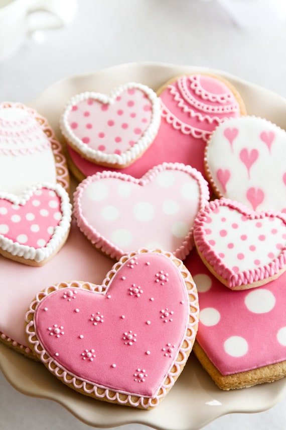 Valentine Day Cookies Heart Shaped - One Dozen varied sizes
