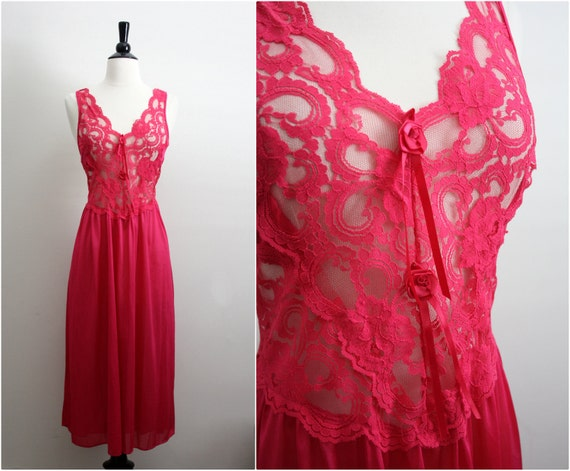 Vintage 80s Hot Pink/ Fuchsia Summer lace Slip Dress. Size S/M