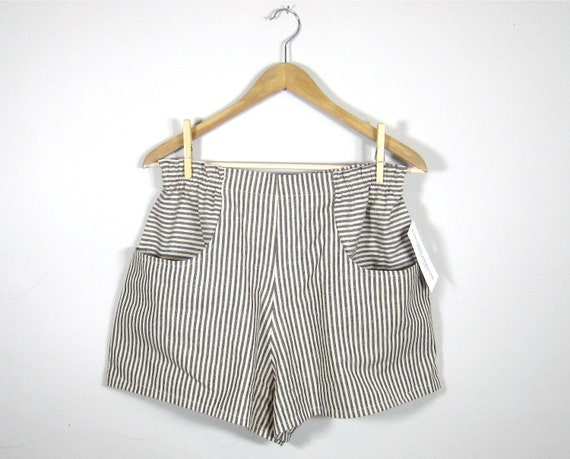 POCKET SHORTS/ high waisted handmade shorts, elastic waist, pockets, striped, organic cotton, hemp, navy blue, indigo, off white, pinstripe
