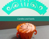 Candles & Swirls Cupcake Wrapper (cwt-015) - Made To Order