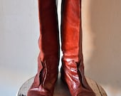 SALE Vintage Women's Rust Red Italian Leather Riding Boots Size 7.5 - feathersndust