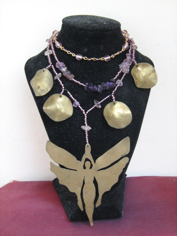 OOAK Purple upcycled windchime Fairy Necklace