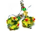 Fresh green Earrings Artisan Lampwork  with yellow Flowers glass bead  Christmas Gift Idea - MADEbyMADA
