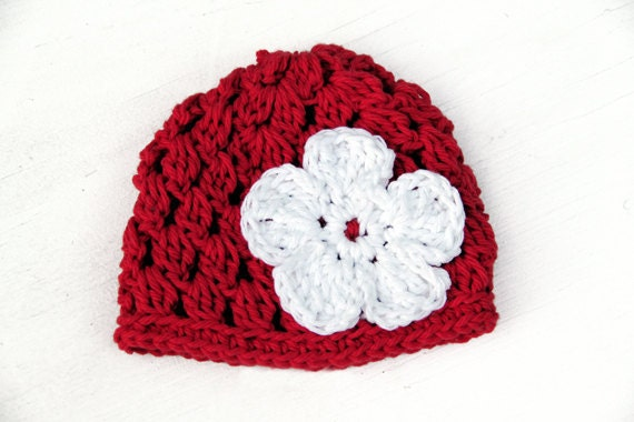 Crochet Baby Girl Hat Red with White Flower, Christmas Baby Hat